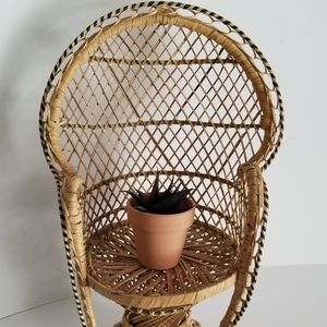Wicker Peacock Plant Stand Chair
